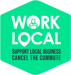 Icon: Work Local Support Local Business. Cancel the commute.